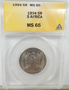 1994-SR-South-Africa-5-Rand-Nelson-Mandela-Inauguration-Coin-ANACS-MS65