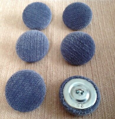 Prong//Clinch Back Royal Chenille Velvet Fabric Covered Upholstery Buttons Blue