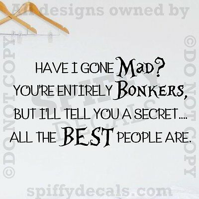 Large,Black Mad Alice Wonderland Funny Kids Quote Wall Art Stickers Decal Vinyl Room