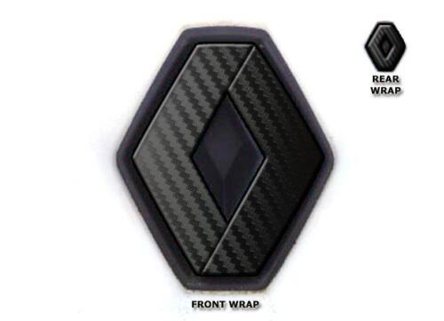 Renault Megane Mk2 Vinilo de carbono negra envoltura insignia de superposición insignias delanteras y traseras Set