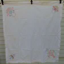 Vintage table cloth crosstitch flowers baskets ribbons tablecloth