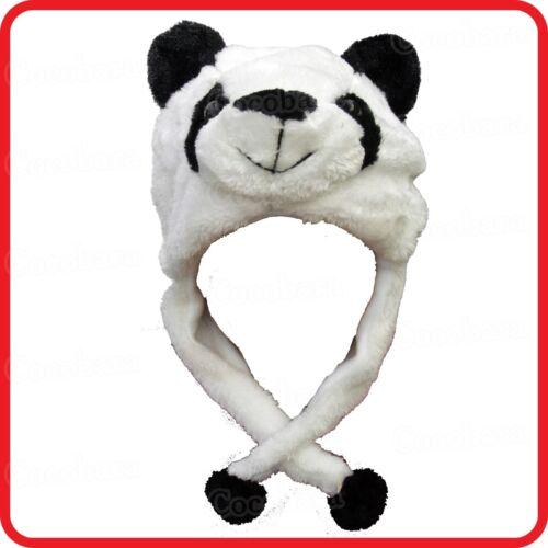 PANDA BEAR ANIMAL PLUSH FLUFFY HOODED HAT CAP BEANIE EARMUFF-COSTUME-DRESS UP