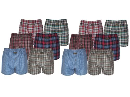 Set of 6x  12x  Mens Cotton Woven Boxer Shorts Check Loose Fit Underwear Trunks