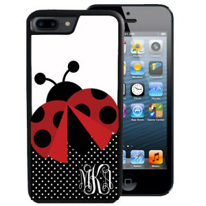 MONOGRAMMED-RUBBER-CASE-FOR-iPHONE-XR-XS-MAX-8-7-6-PLUS-LADY-BUG-POLKA-DOTS