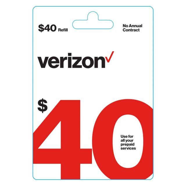 Verizon Wireless $40 Verizon Prepaid | $40 Refill Card |Digital Code|