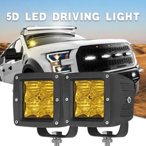 2X Flood 3inch Amber LED Work Light Bar Fog Pod Driving Lamp Offroad 4X4 4WD SUV