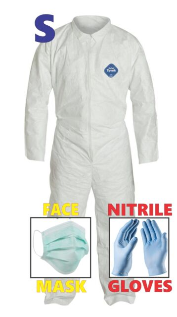 Small Tyvek Protective Suit Hazmat Clean-Up Chemical Nitrile Gloves & Face Mask
