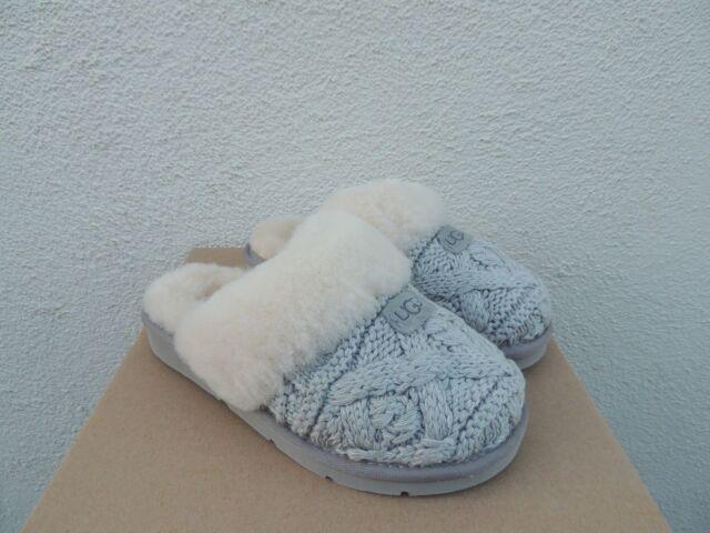Ugg Seal Cozy Knit Cable Sheepskin Slippers Women Us 11 Eur 42 Ebay