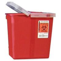 Covidien Biohazard Sharps Container W/clear Hinged Lid 2 Gal Red Srhl100990 on sale