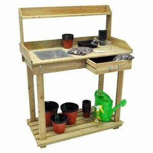 Wooden-Plant-Flower-Potting-Bench-Greenhouse-Work-Staging-Table-with-Shelf
