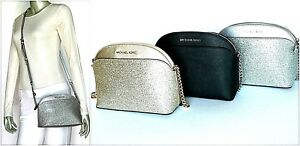 4a083f3ce3df Image is loading Michael-Kors-Emmy-Medium-Metallic-Saffiano-Leather- Crossbody-