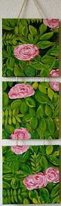 PINK-Roses-Original-Acrylic-Painting-Impression-FLORAL-PAINTING-8-x-30-Inches