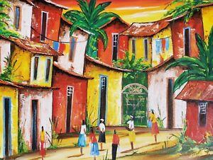 2007-Signed-Claudia-Barbosa-Village-Naif-Primitive-Art-Painting-Rio-Brazil