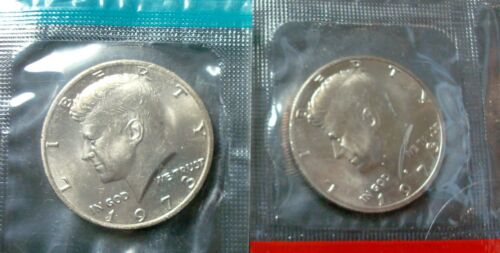 D BOTH BRILLIANT UNCIRCULATED KENNEDY HALF DOLLARS FROM SEALED MINT SET P 1973