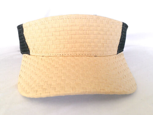 ***BRAND NEW*** MM COLLECTIONS STRAW TRUCKER LOOK SPORTS VISOR CAP NATURAL//BLACK