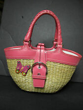 Coach Butterfly Straw Weave & Pink Leather Handbag GUC