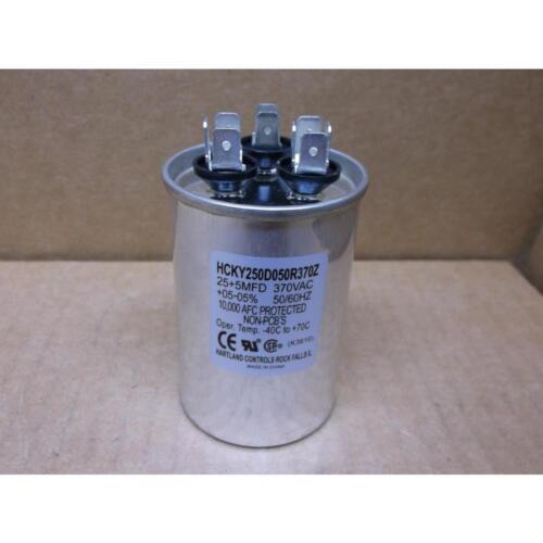 HARTLAND CONTROLS HCKY250D050R370Z 25+5 MFD X 370 VAC ROUND DUAL RUN CAPACITOR