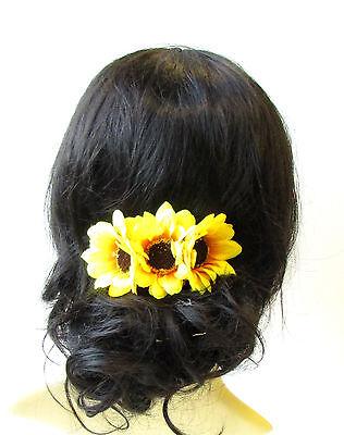 Gelbe Sonnenblume Blume Haarkamm Blatt Blumenmuster Brautjungfer Festival-boho