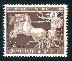 DR-Nazi-3rd-Reich-Rare-WW2-Stamp-1940-Hitler-039-s-Horse-Racing-Brown-Ribbon-Germany
