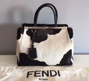 0fe7b680f17f FENDI 2Jours Medium Handbag Calf Hair Cow Black + White Retail Price ...