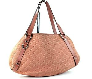 542f322287d Authentic GUCCI Peach Suede   Leather Tote Hand Bag Purse Italy ...