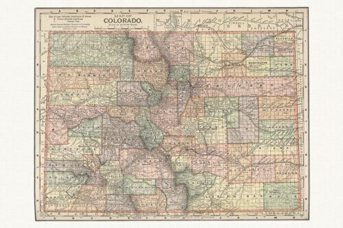 Old Antique Decorative Map of Colorado Appleton ca 1892