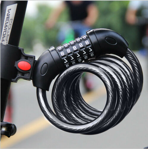 5-Digit Combination Password Bike Lock Cable Bicycle Chain Lock  Black Color