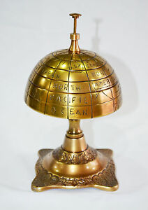 ENGRAVE GLOBE ORNATE HOTEL FRONT DESK BELL SALES SERVICE COUNTER BELL