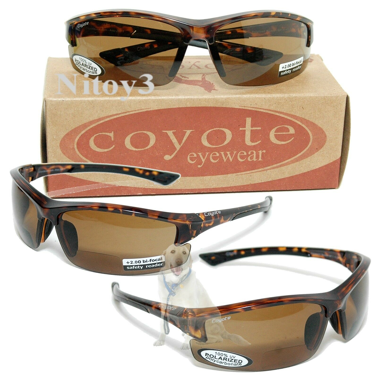 Coyote Eyewear BP7 Sunglasses  Polarized, BiFocal 2.0 Large Fit