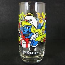 1983 Smurfette Smurf 16oz Ice Tea Glass Tumbler Peyo Wallace Berrie Hardee's