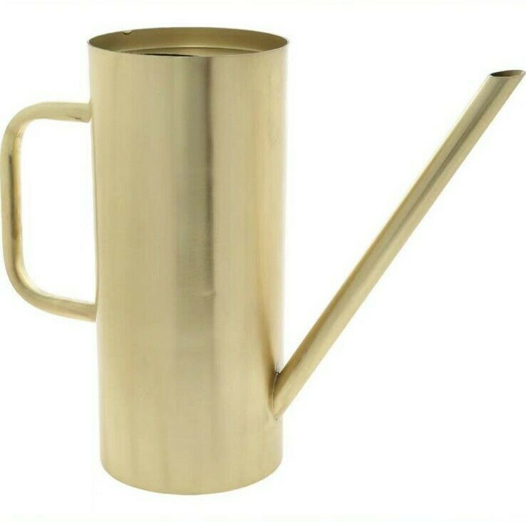 India Crafted Gold Tone Cylindrical Watering Can 26x35cm New