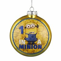 Kurt Adler 1 In A Minion Ornament With Decal, 80mm, New, Free Shipping on Sale