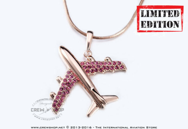 Brand New Rose Gold Plated Airplane Necklace Pendant Made With SWAROVSKI element