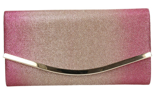 Women Glitter Flapover Pink Blue Bronze Two Tone Prom Party Wedding Clutch Bag