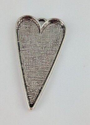 10PCS Tibetan Silver Heart Pendant Setting Blanks 42x26mm FC11251