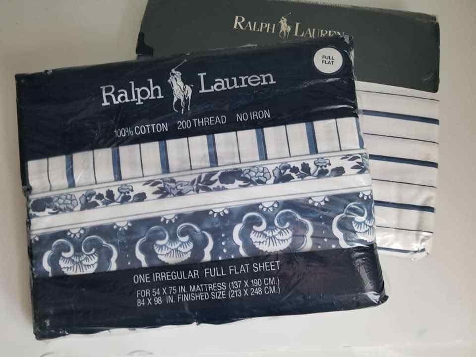 Vtg Rare Ralph Lauren Porcelain Jonquil Blau Floral Stripe Fitted Flat Sheet Set