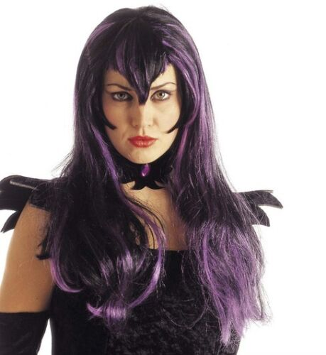 Ladies Black Purple Emo Goth Witch Wig Scary Horror Evil Bride Vampire Halloween