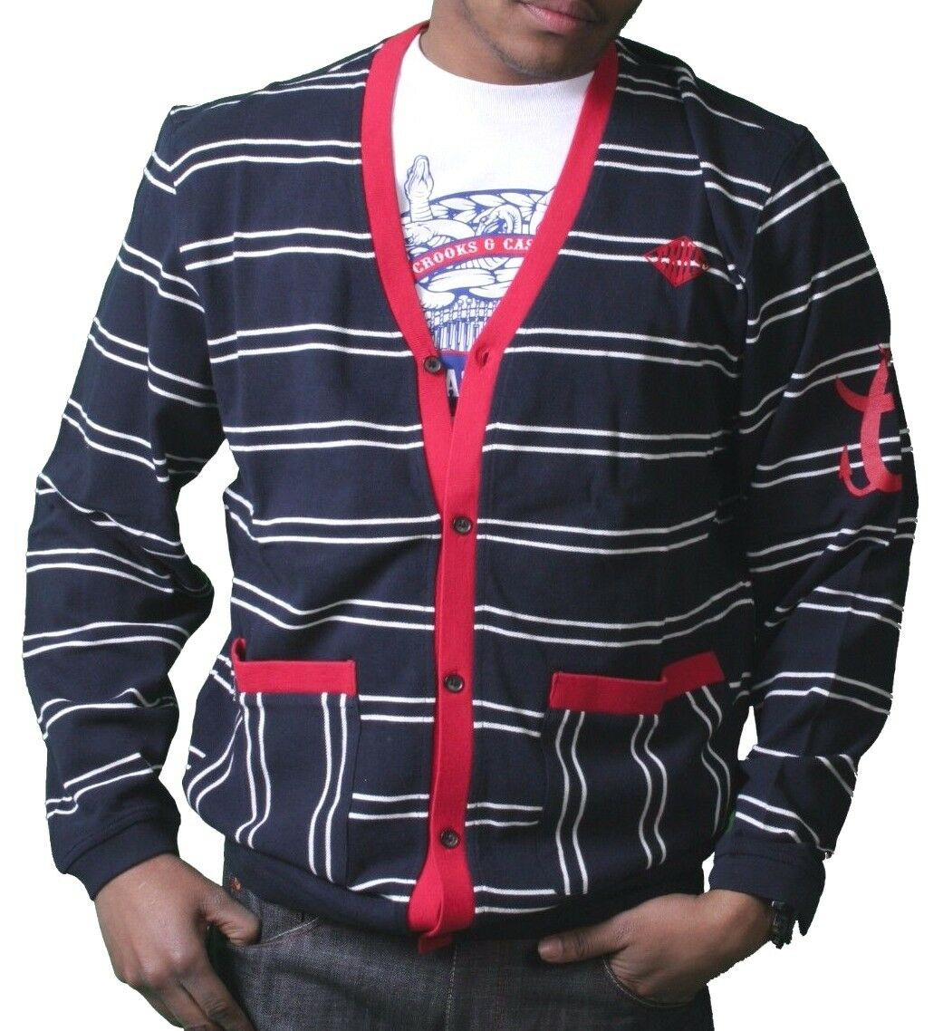 Crooks & Castles Dark Navy White Red Knit Cotton Devil Cardigan Sweater NWT