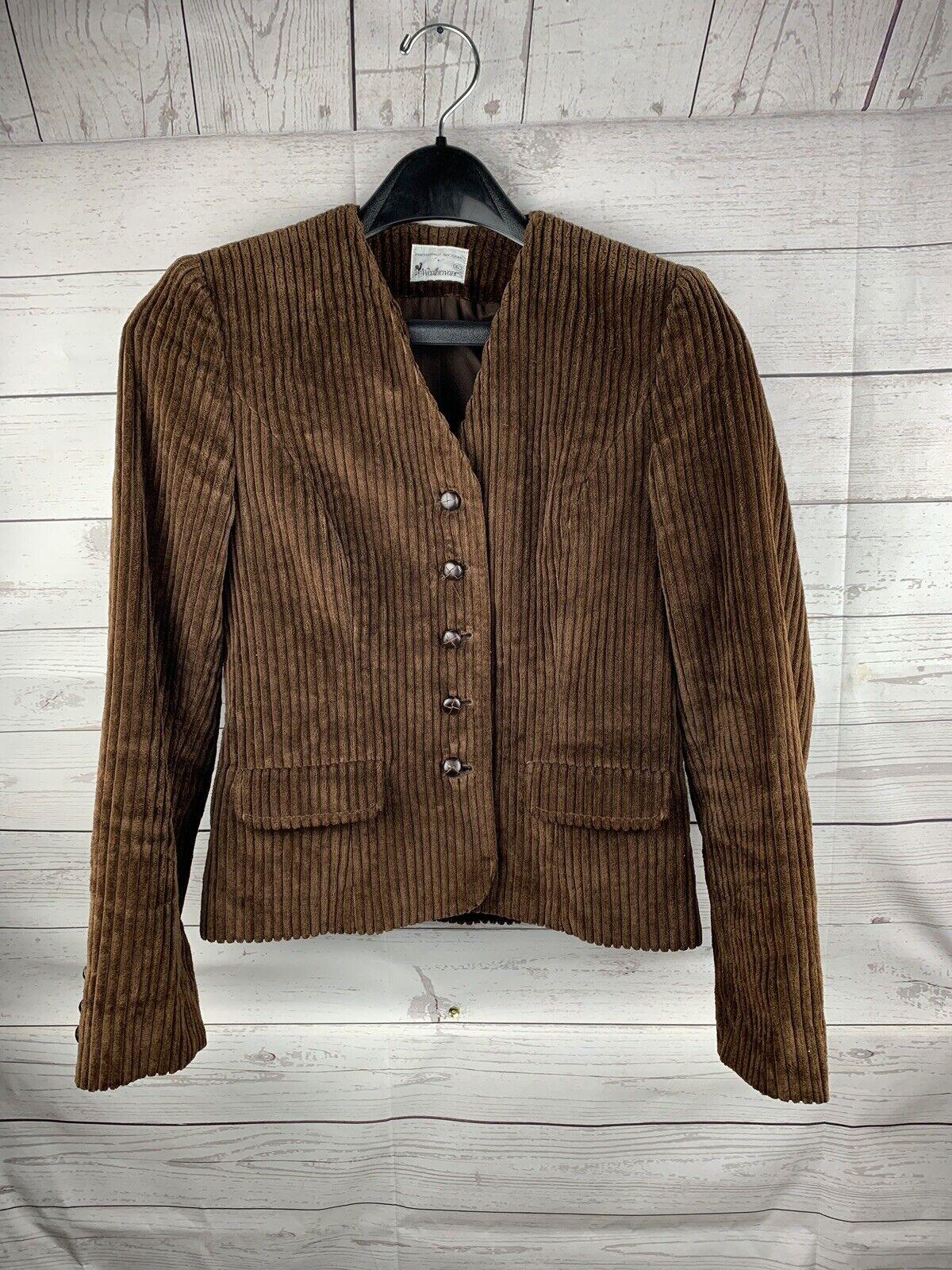 Vintage WeatherVane brown thick corduroy blazer Women's sz 6