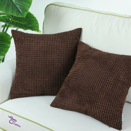2Pcs Coffee Pillows Covers Pillow Shells Corn Soft Corduroy Striped 26x26 Inches