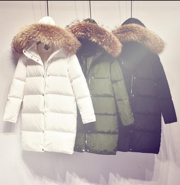 Manteau à capuchon et à col en fourrure pour femmes 90% Parka