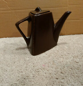 Designpac-Triangular-Modern-Art-Deco-Tea-Pot-for-1-Rustic-Brown-Stoneware-Lid