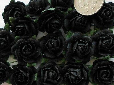 100 Cute Handmade Mulberry Paper Roses - 10MM - Stylish Black Rose Embellishment