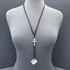 Unique Bohemian Long Brown Leather Rope Silver Cross Pearl Pendant Necklace