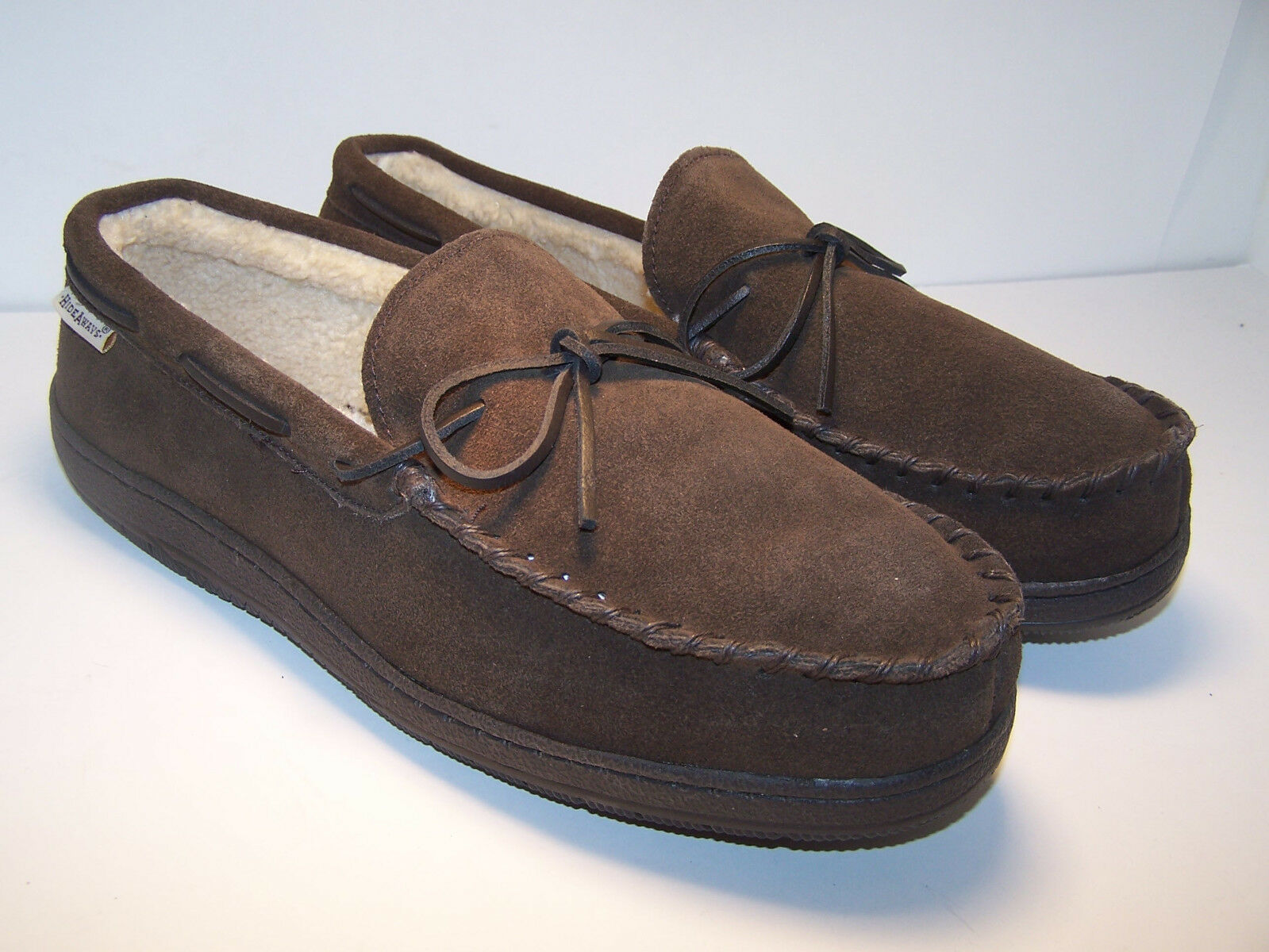 HIDEAWAYS Morgan L.B. Indoor   Outdoor Slippers Men's shoes Suede MOCCASIN NEW