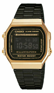 Casio-A168WEGB-1BEF-Retro-Klassiker-Digitaluhr-Uhr-Goldfarben-Gold-Unisex-Neu