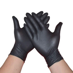 Comfortable-100Pcs-Rubber-Disposable-Mechanic-Nitrile-Gloves-Black-Medical-Exam