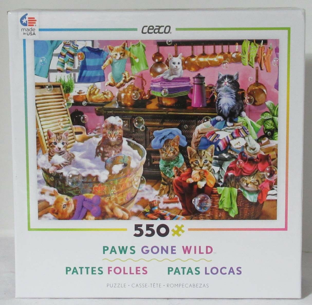 Ceaco 550 Piece Jigsaw Puzzle Paws Gone Wild Playful Cats KITTENS IN THE KITCHEN