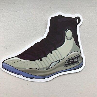 finest selection 887e9 d8913 Warriors Under Armour Stephen Curry 4 Shoe Sneaker Sticker Decal | eBay