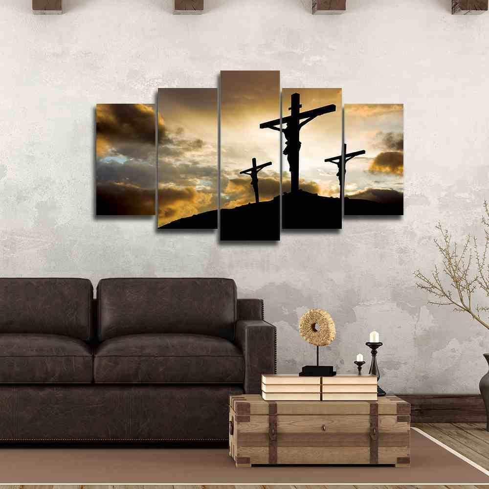 Cross Calvary Christian Five Piece Framed Canvas Multi Panel Home Decor Wall